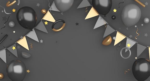 Black friday-verkoopbannerdecoratie als achtergrond met de ballon van de slingervlag, exemplaarruimte