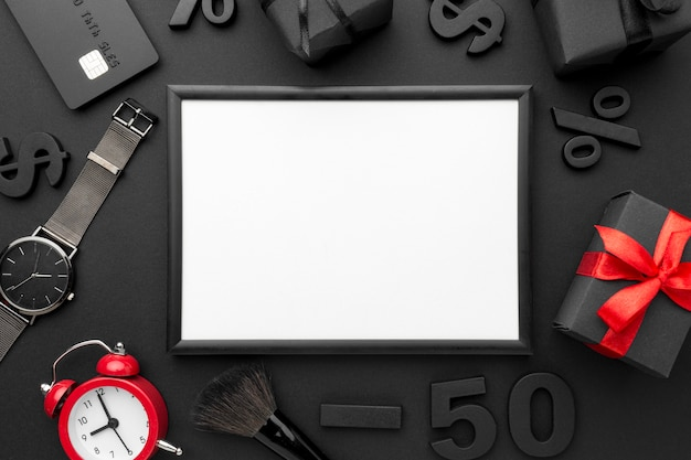 Black friday-verkoopelementenassortiment met leeg frame
