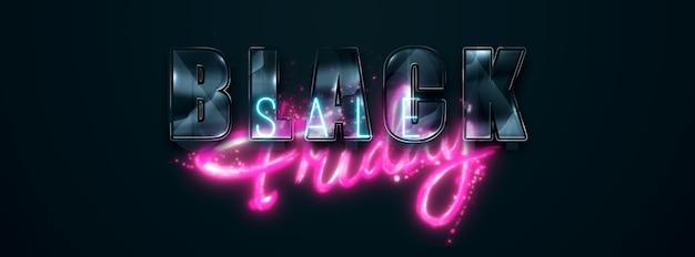 Black friday-verkoopfolder. commerciële kortingsbanner. roze letters op een zwarte achtergrond. verkoop, kortingen, prijsdalingen, poster, websitekoptekst. 3d illustratie, 3d render.