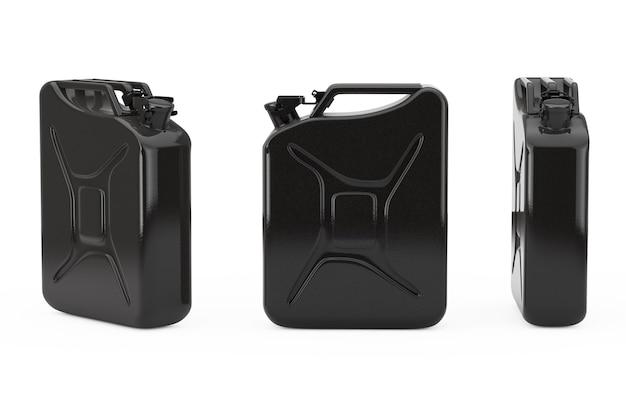 Black metal jerrycan met vrije ruimte voor jou ontwerp op een witte achtergrond. 3d-rendering