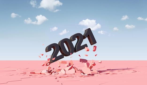 Black new year 2021 breekt door vanaf pink ground