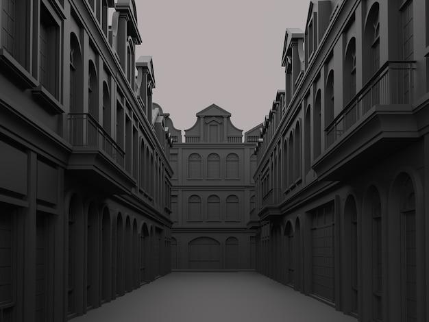 Black street concept met klassieke bouwstijl 3d render, de sfeer is donker maar elegant.