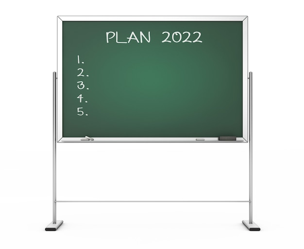 Blackboard met de phrase plan 2022 op een witte achtergrond. 3d-rendering