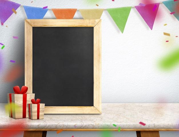 Blackboard met geschenkdoos en een kleurrijke banner