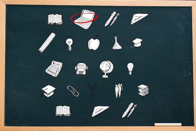 Blackboard met pictogrammen