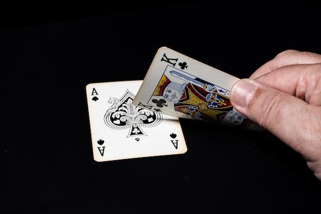 Blackjackspel, winnende hand 21.