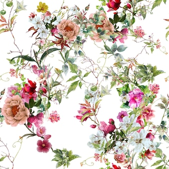 Blad en bloemen aquarel naadloze patroon