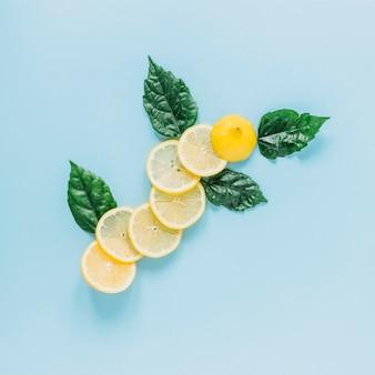 Bladeren in de buurt van gesneden citroen