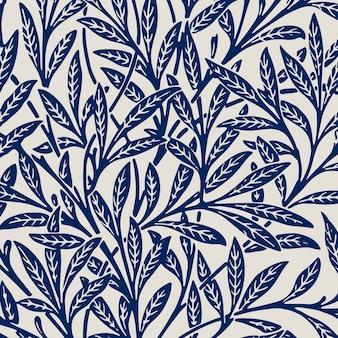 Bladeren ornament blauw patroon achtergrond