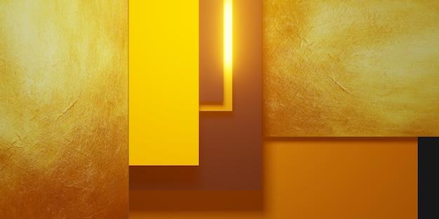 Bladgoud textuur achtergrond zwart en geel frame vloer niveau elegante krachtige 3d illustratie