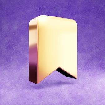 Bladwijzerpictogram geïsoleerd op violet fluweel