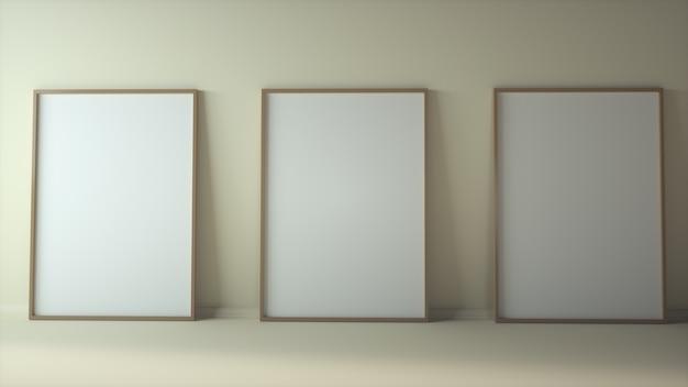 Blanco drie verticale posters mock-up staande op beige vloer