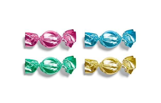 Blanco gekleurd hard snoepfolieverpakkingsmodel lege fruitgumdrop in swirl cellofaanverpakkingsmodel