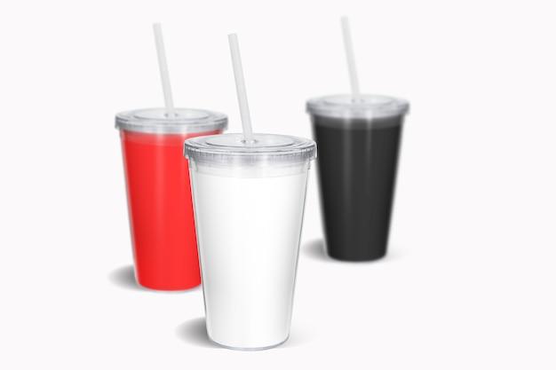 Blanco gekleurde wegwerpbeker met stro mock up, geïsoleerd. papieren frisdrank drinkbeker met deksel en buis vooraanzicht