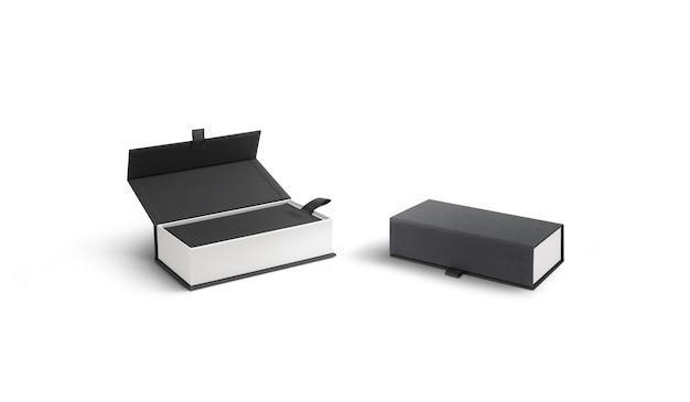 Blanco geopende en gesloten witte koffer met grijs deksel, geïsoleerd