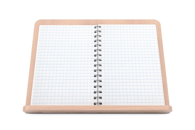 Blanco kookboek met vrije ruimte voor uw ontwerp op houten boekhouder op een witte achtergrond. 3d-rendering