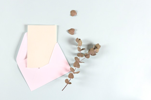 Blanco papier enveloppen, brieven voor uitnodiging met eucalyptus bladeren op lichte achtergrond