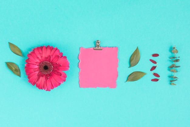 Blanco papier met gerbera bloem en bladeren