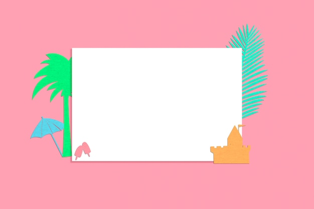 Blanco papier met zomer elementen silhouet