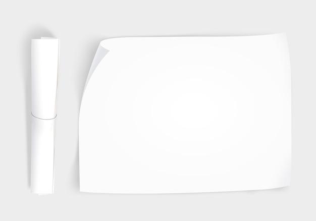 Blanco papier mockup met papierrol
