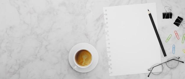 Blanco papier potlood clips brillen en koffiekopje op marmeren tafel 3d rendering 3d illustratie bovenaanzicht top