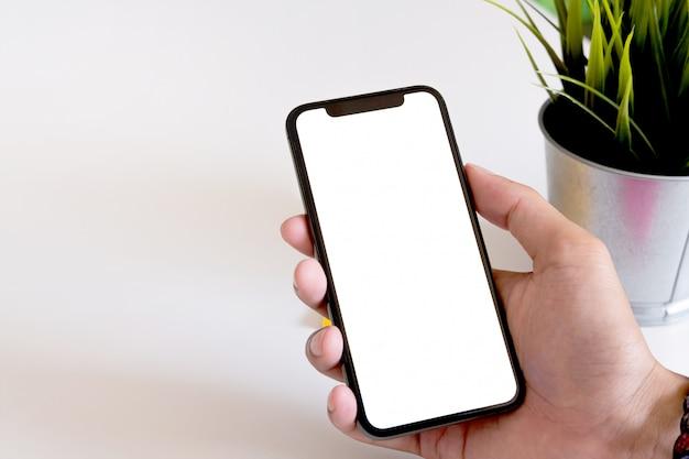 Blanco scherm mobiele telefoon voor grafische weergave montage