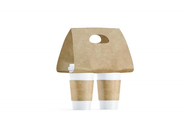 Blanco twee koffiekopjes drager houder