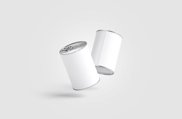 Blanco twee witte grote conservenblikjes, geen zwaartekracht, grijze muur, 3d-rendering. lege tomaat ingeblikte pot. doorzichtige aluminium bank met label voor supermarkt.