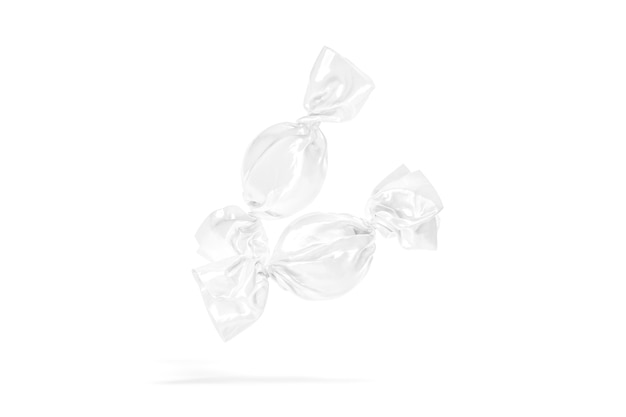 Blanco twee witte harde snoepfolieverpakking mockup ronde toffy of lost verpakte mock up geïsoleerd op