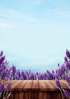 Blanco van houten tafel op lavendelvelden
