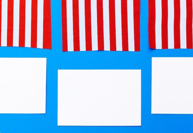 Blanco vel papier met amerikaanse vlag
