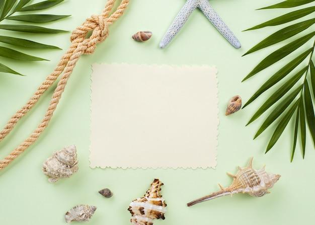Blanco vel papier met schelpen