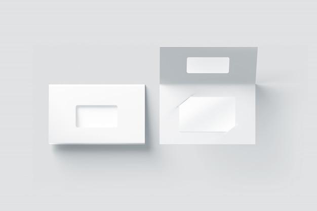 Blanco wit plastic kaartmodel in papieren boekjeshouder