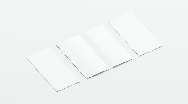 Blanco wit twee gevouwen boekje, geopend en gesloten, voor- en achterkant zijaanzicht