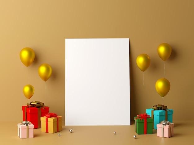 Blanco witboek leunend tegen de muur en geschenken 3d-rendering achtergrond