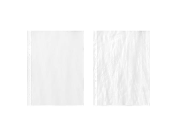 Blanco witte lege a4 doorzichtige plastic hoes, effen en gekreukt