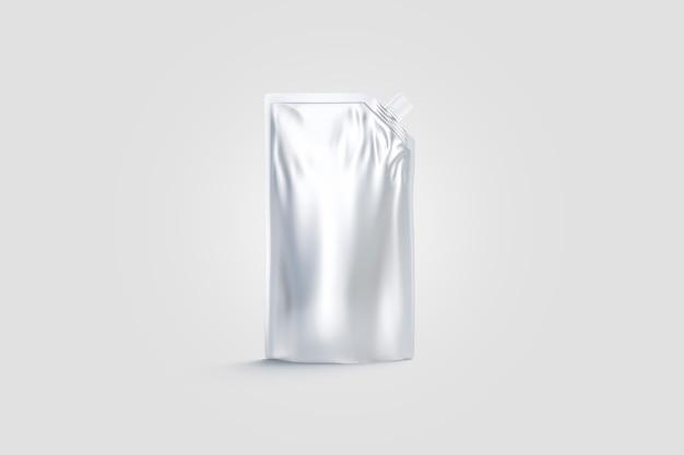 Blanco zilveren saus doypack met schenktuit