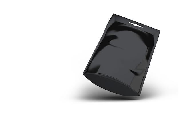 Blanco zwart folie snackpakket. geïsoleerd op wit inclusief uitknippad