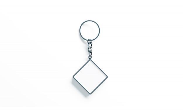 Blank metalen ruit witte sleutelhanger bovenaanzicht