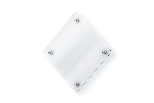 Blank ruitvormige glazen bord wandmontage