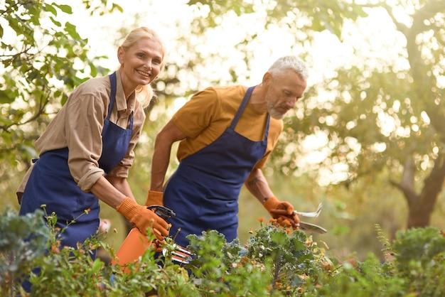 Blanke man en vrouw van middelbare leeftijd die in de tuin werken