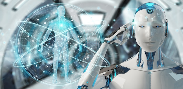 Blanke man robot scannen menselijk lichaam
