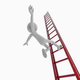 Blanke mensen vallen van een ladder. 3d-rendering