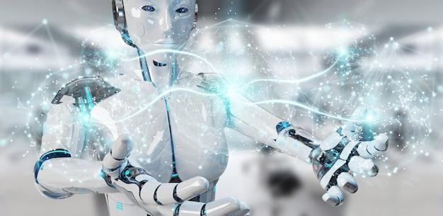 Blanke vrouw humanoïde met behulp van digitaal wereldwijd netwerk