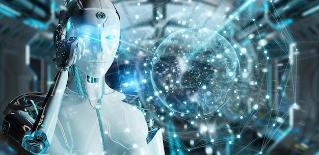 Blanke vrouw robot met behulp van digitale scherminterface