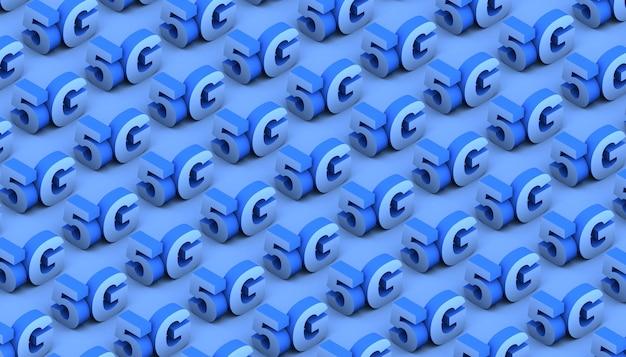 Blauw 5g-tekstpatroon. 3d illustratie. achtergrond.