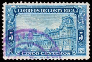 Blauw bericht gebouw postzegel