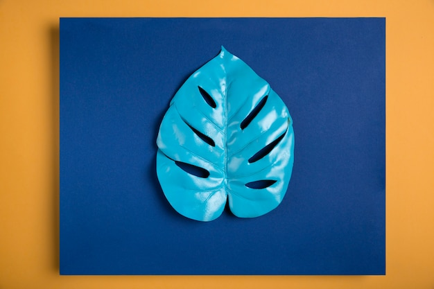 Blauw blad op donkerblauwe rechthoek