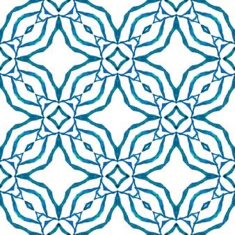 Blauw chique boho chic zomerontwerp. zomer exotische naadloze grens. exotisch naadloos patroon. Premium Foto