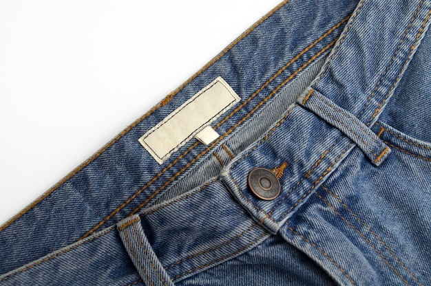 Blauw denim label